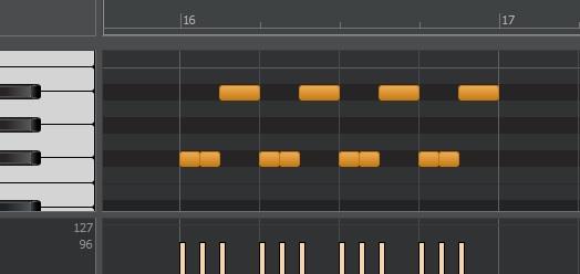 ハイハットパターン例、表拍でクローズ、裏箔でオープンを鳴らします