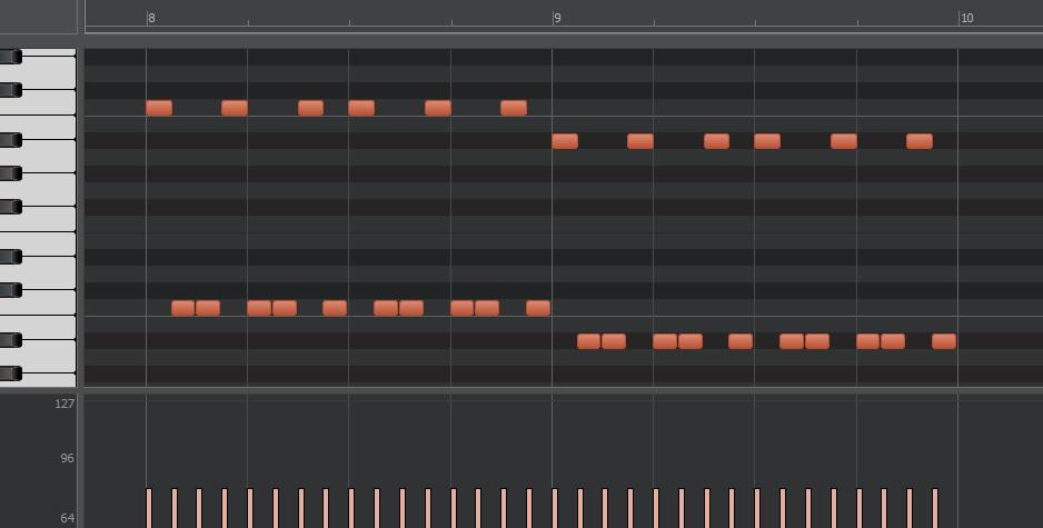 ミッドベースはコード発音のタイミングで1オクターブ上げる