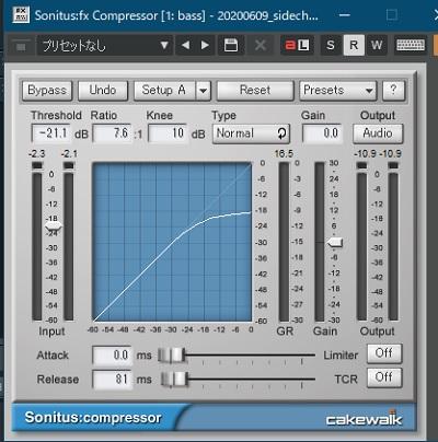 コンプレッサーのゲインリダクションを24db程度に設定
