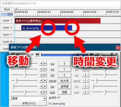 オブジェクトをドラッグすることで、移動、表示時間の変更が可能です。