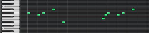 メロディの音価を16分に変更したデータ