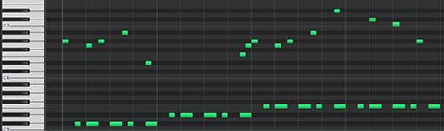 コードのベース音を追加したmidiデータ