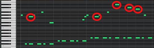 ベースと同時に発音するメロディの音価をベースに合わせたmidiデータ