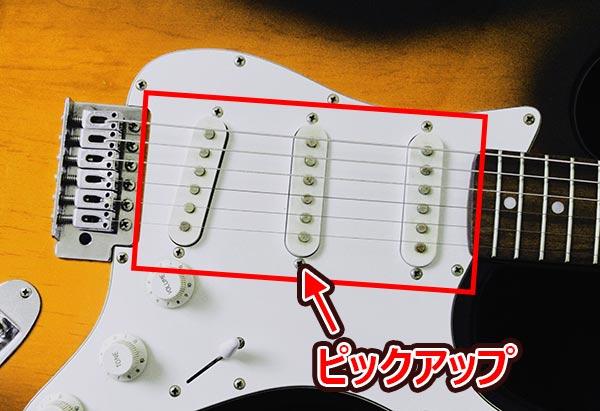 ボディに配置されている弦振動を拾う部品をピックアップと呼びます