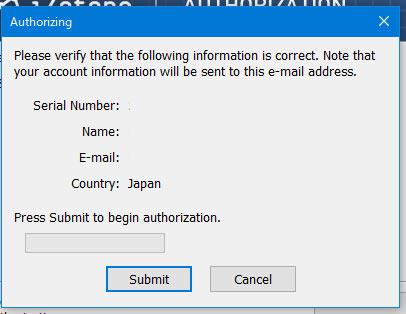 名前、メールアドレス、国入力の確認