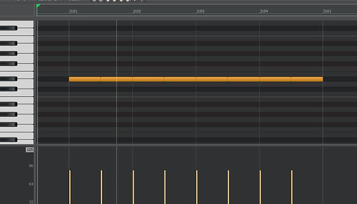 ピアノロール画面、8分音符を8つ並べている