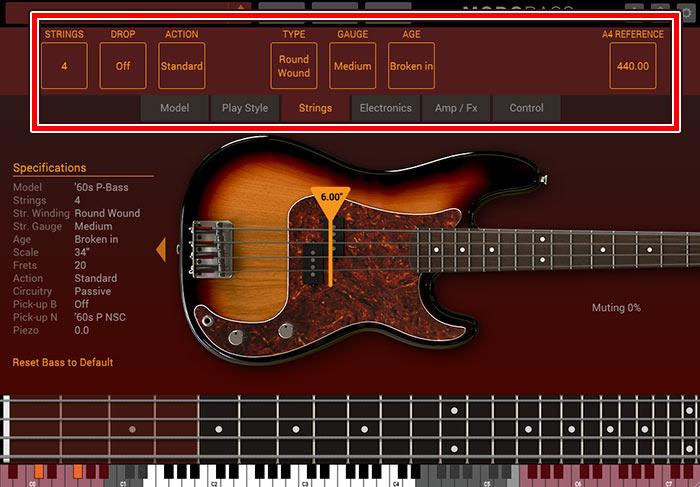 弦の本数に種類、劣化具合の設定