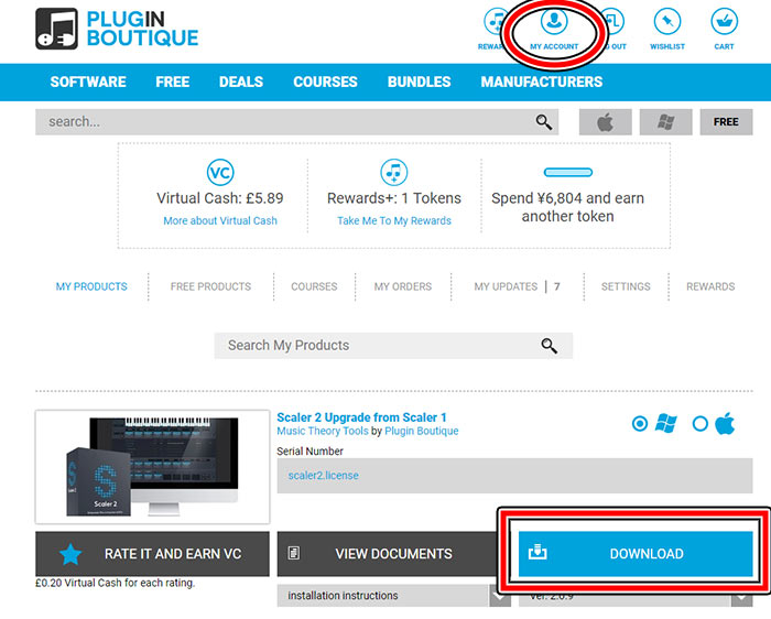 plugin boutiqueのmy account画面
