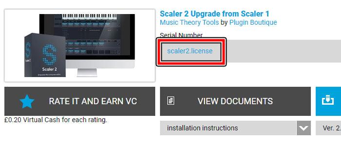 商品一覧、Scaler 2の中段にLicenseダウンロードリンク有り