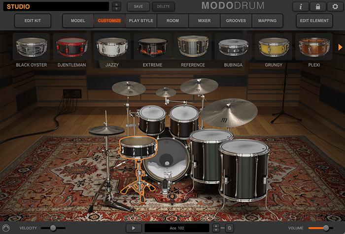 ドラムセット内の各打楽器の切り替えが可能