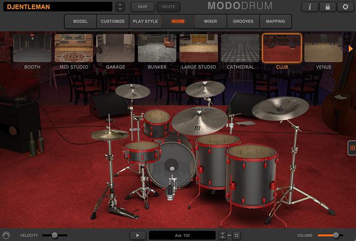 ドラムセットが収容される部屋が表示される