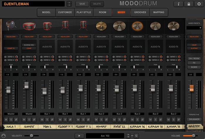 各打楽器がグラフィカルに表示されます。