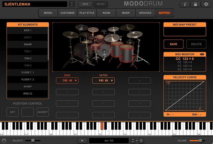 ドラムセット各音のmidiマッピング 各打楽器がグラフィック表示されるので解り易い