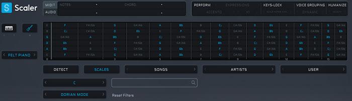 ギターの指板にスケール、音程が表示される