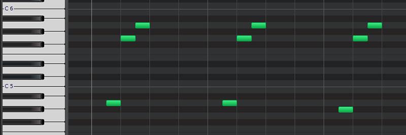 midiノートでシーケンスパターンを作成、単純なフレーズを繰り返す