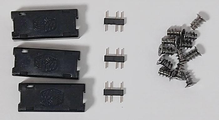 コネクタ脱落防止部品、ARGBのオスオスアダプター、ファン固定用ビス