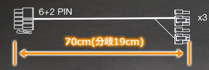VGA電源6 + 2pinケーブル全体約70cm 分岐部分約19cm