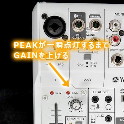 PEAK LEDが一瞬点灯するまでGAINを上げていく