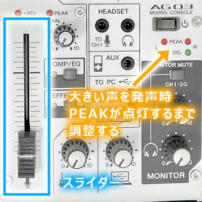 左下のスライダーで最終的な音量を調整する